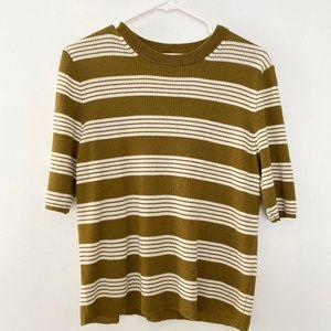 Madewell XL Striped Crew Neck Short Sleeve Sweater